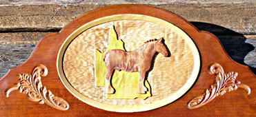 Routed timber horse sign carved 3D