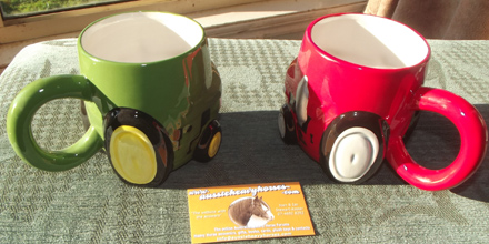 tractor mugs red & green